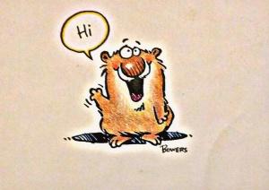 Strange looking bear waving hi.